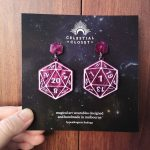D20 Statement Earrings - Clairvoyance (Royal Purple Marble/Lilac)