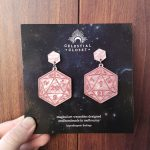 D20 Statement Earrings - Healing Spirit (Pale Pink Marble/Berry)