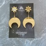 Callisto Star and Moon Drop Earrings - Antique Gold Mirror