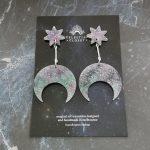 Callisto Star and Moon Drop Earrings - Borealis Glitter