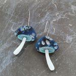 Mystic Mushroom Hoop Earrings – Midnight Magic (Deep Blue)