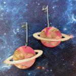In Orbit Recycled Planet Drop Earrings - Lava Rock 02